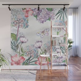 Watercolor Garden Flowers and Butterfly Wall Mural