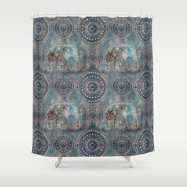 Elephant Ethnic Style Pattern Teal and Copper Shower Curtain