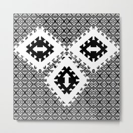 Black And White Aztec Metal Print