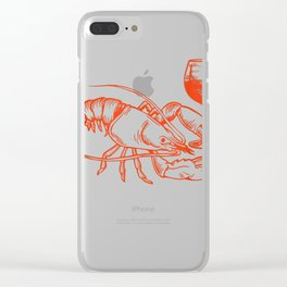 Lobster Drinking Wine Shirt Funny Lobster Gift Wine Lovers Clear iPhone Case