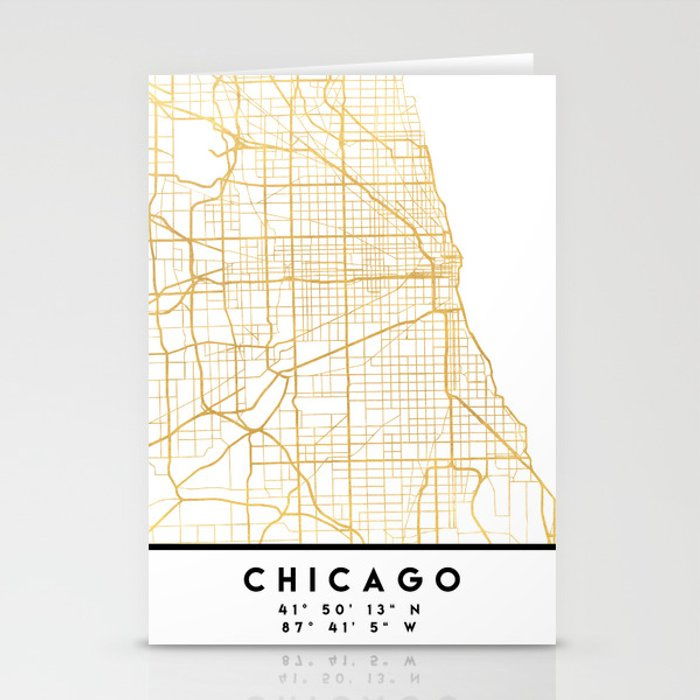 Chicago Illinois City Street Map Art Stationery Cards By Deificusart