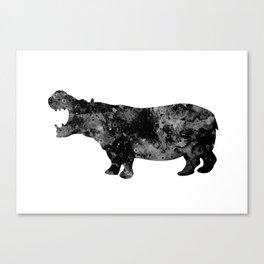 Hippo Art Black and White Decor Wildlife Decor Hippopotamus Art Safari Art Zoo Art Canvas Print
