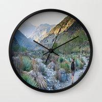 onward Wall Clocks featuring Onward by Kim Ramage