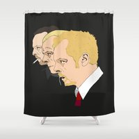 shaun of the dead Shower Curtains featuring Simon Pegg - Shaun Of The Dead, Hot Fuzz and The World's End by Tomcert