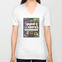 grand theft auto V-neck T-shirts featuring Grand Theft Mushroom by Ben Clark