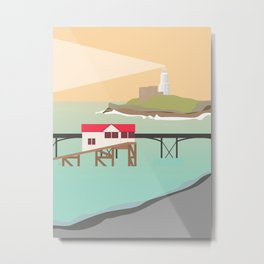 Mumbles Pier & Lighthouse, Swansea Bay, South Wales Metal Print