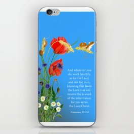 Colossians 3 23-24 Work Heartily as for the Lord and not for Men Harvest Mice Poppies iPhone Skin
