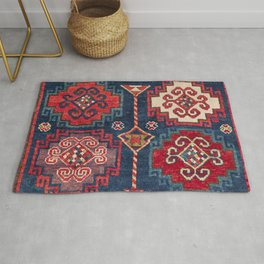 Royal Blue Red Kazak 19th Century Authentic Colorful El Paso Vibes Vintage Patterns Rug