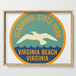 Seashore State Park Virginia Beach Camping Seagull Vintage Serving Tray