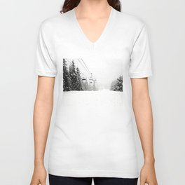Lifts waiting for action in the snow Unisex V-Neck