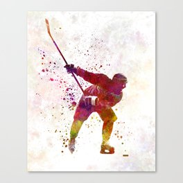 Hockey man player 02 in watercolor Canvas Print