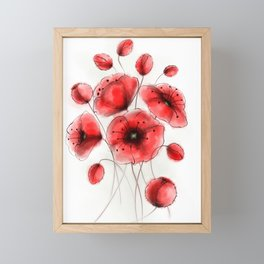 Red Poppies Ink Art Colorful Watercolor Gift Antique Rustic Flowers Art Framed Mini Art Print