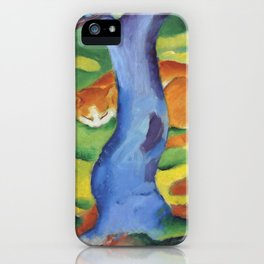 """Franz Marc """"Children's Picture: Cat behind a Tree (Kinderbild: Katze hinter einem Baum)"""" iPhone Case"""