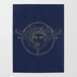 medusa / gold minimal line logo on navy background Poster