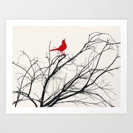 Red Bird on a Branch A533 Art Print