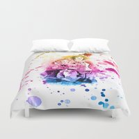 river song Duvet Covers featuring River Song Watercolor Mixed Media Digital Painting by Purshue