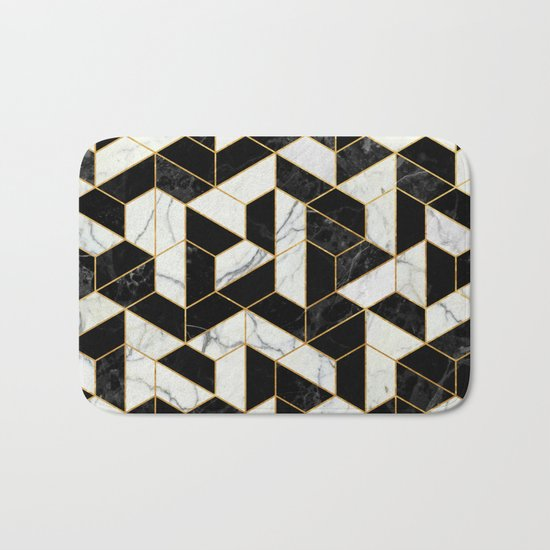 Black and White Marble Hexagonal Pattern Bath Mat