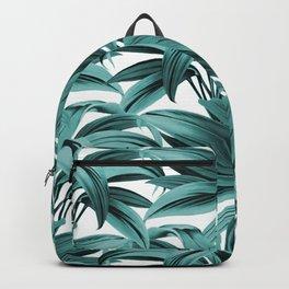Cordyline Princess Margaret Watercolor Teal Blue Pattern Backpack