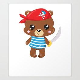 Animal Pirates Animal Pirate Bear Pirate Themed Birthday Art Print