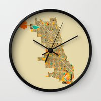 chicago map Wall Clocks featuring Chicago by Nicksman