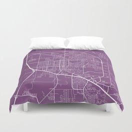 Denton Map, USA - Purple Duvet Cover