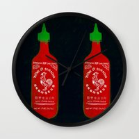 sriracha Wall Clocks featuring Sriracha (2012) by Branden Vondrak