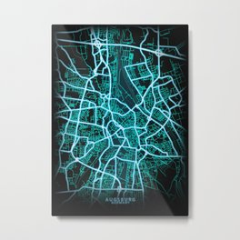 Augsburg, Germany, Blue, White, Neon, Glow, City, Map Metal Print