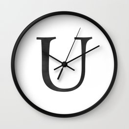 Letter U Initial Monogram Black and White Wall Clock