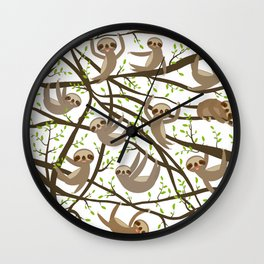 funny and cute smiling Three-toed sloth on green branch tree creeper Wall Clock