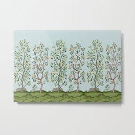 Chinoiserie Citrus Grove Mural Multicolor Metal Print