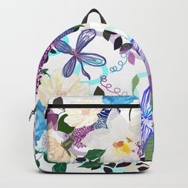 My blue purple roses an vanilla flowers artistic flower Backpack