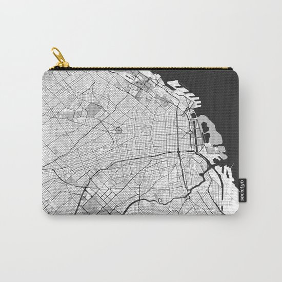 Buenos Aires City Map Gray Carry-All Pouch