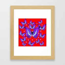 Purple Butterflies Flight on  Chinese Red Color Pattern Framed Art Print
