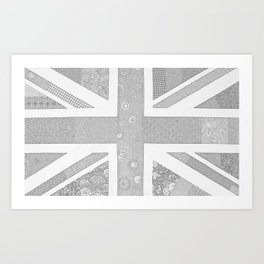 London Fog - Pale Shades of Gray Union Jack Flag Art Print