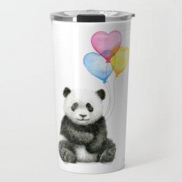 Panda Baby with Heart-Shaped Balloons Whimsical Animals Nursery Decor Travel Mug