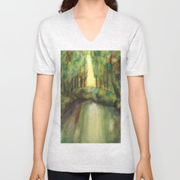 Trees and creek - Original painting Unisex V-Neck