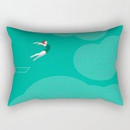 diver girl jumping into the clouds Rectangular Pillow