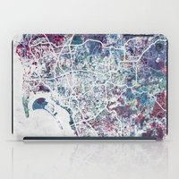 san diego iPad Cases featuring San Diego map by MapMapMaps.Watercolors