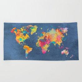 world map blue 2061 #map #worldmap Beach Towel
