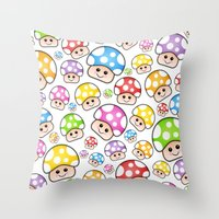 Iddy Diddy Mushrooms  Throw Pillow