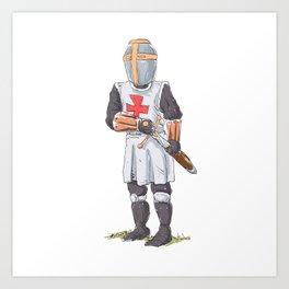 Knight Templar in armour with sword. Art Print
