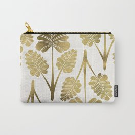 Tropical Palm Leaf Trifecta – Gold Palette Carry-All Pouch