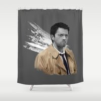 castiel Shower Curtains featuring Supernatural - Castiel by firatbilal