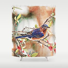 Eastern Bluebird Dream | Painting Shower Curtain