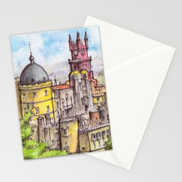Pena Palace, Sintra, Portugal ink & watercolor illustration Stationery Cards