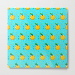 Pixel Oranges - Blue Metal Print