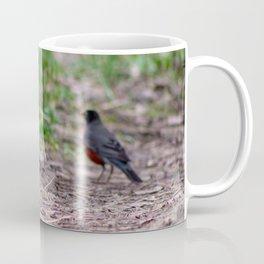 American robin eating worms Coffee Mug