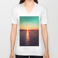 carpe diem V-neck T-shirts featuring carpe diem by Sylvia Cook Photography