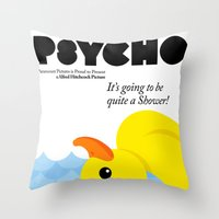 psycho Throw Pillows featuring Psycho by Chá de Polpa