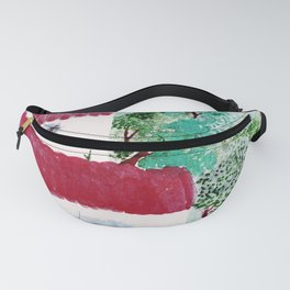 Village houses in the woods watercolor Fanny Pack